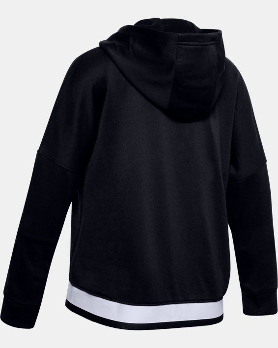 Girls' UA Tech™ Terry Full Zip Hoodie, Black, pdpMainDesktop image number 1