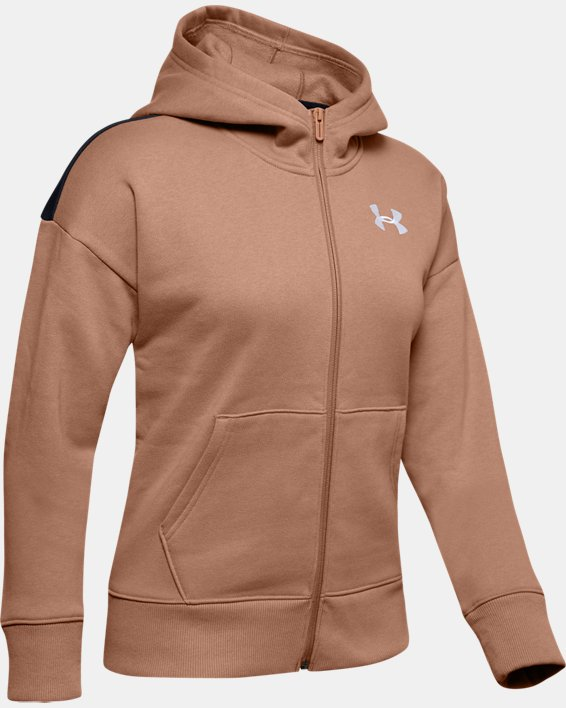 Sweat à capuche UA Originators Fleece LC Logo Full Zip pour femme  , Brown, pdpMainDesktop image number 4