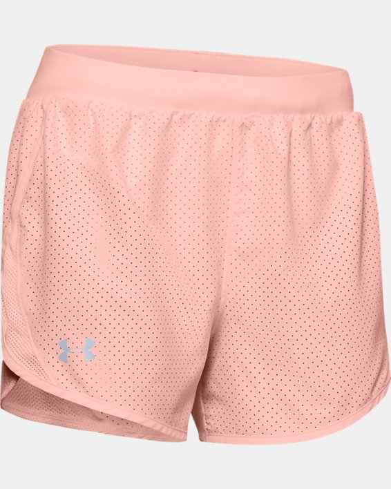 Women's UA Fly-By 2.0 Cire Perforated Shorts, Orange, pdpMainDesktop image number 4