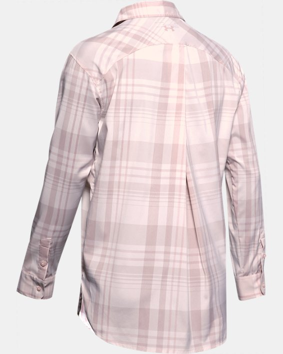Women's UA High Tide Plaid Long Sleeve, Pink, pdpMainDesktop image number 5