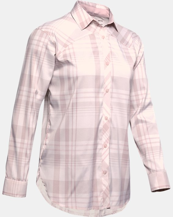 Women's UA High Tide Plaid Long Sleeve, Pink, pdpMainDesktop image number 4