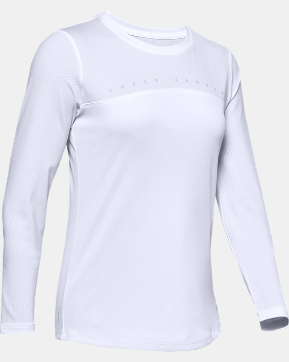 Women's UA Iso-Chill Shore Break Long Sleeve, White, pdpMainDesktop image number 3