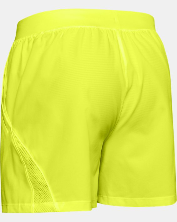 "Men's UA SpeedPocket 5"" Shorts, Yellow, pdpMainDesktop image number 4"