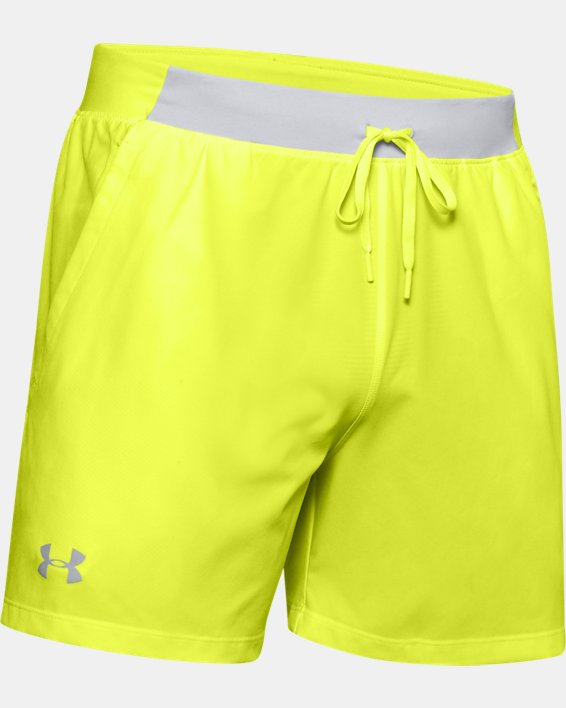 "Men's UA SpeedPocket 5"" Shorts, Yellow, pdpMainDesktop image number 3"