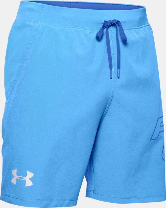 "Men's UA SpeedPocket 7"" Graphic Shorts, Blue, pdpMainDesktop image number 3"