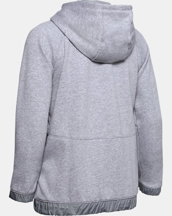Women's UA Hustle Fleece Full Zip Hoodie, Gray, pdpMainDesktop image number 5