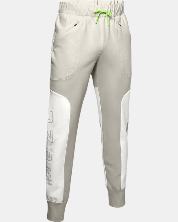 Men's UA Moments Fleece Pants, White, pdpMainDesktop image number 3