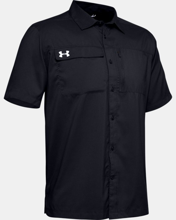 Men's UA Motivator Coach's Button Up Shirt, Black, pdpMainDesktop image number 3