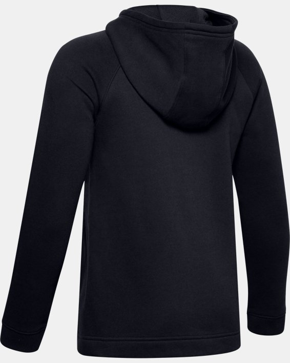 Boys' UA Hustle Fleece Full Zip Hoodie, Black, pdpMainDesktop image number 1