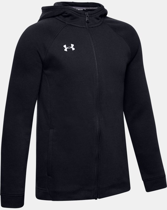 Boys' UA Hustle Fleece Full Zip Hoodie, Black, pdpMainDesktop image number 0