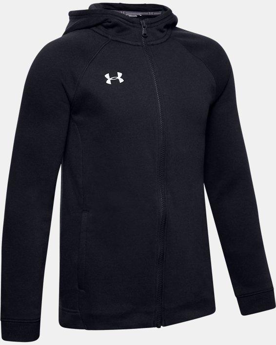 Boys' UA Hustle Fleece Full Zip Hoodie, Black, pdpMainDesktop image number 0