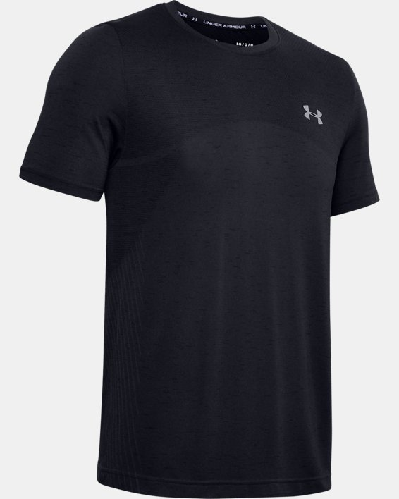 Men's UA Seamless Short Sleeve, Black, pdpMainDesktop image number 4