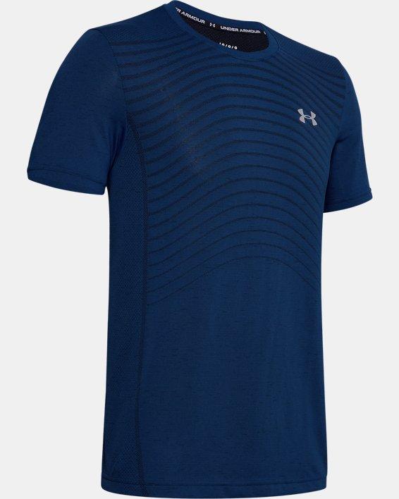 Men's UA Seamless Wave Short Sleeve, Blue, pdpMainDesktop image number 4