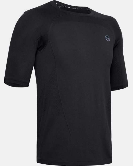 Men's UA RUSH™ Seamless Compression Short Sleeve, Black, pdpMainDesktop image number 4