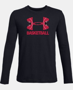 New Arrival Boys' UA Bball Big Logo Long Sleeve Shirt  2  Colors Available $25