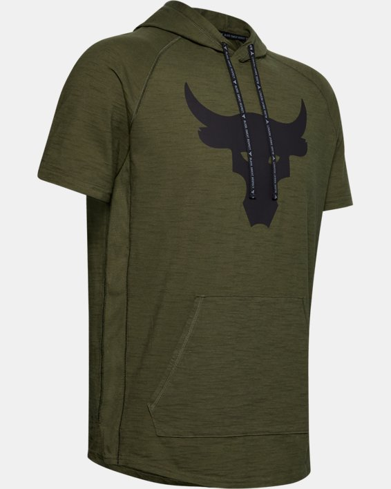 Men's Project Rock Charged Cotton® Short Sleeve Hoodie, Green, pdpMainDesktop image number 4