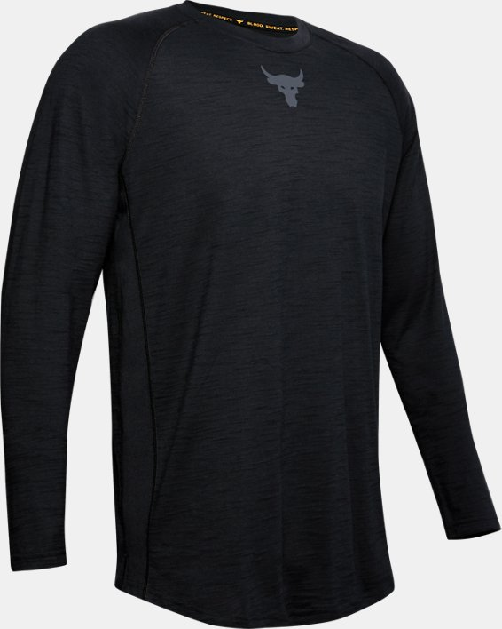 Men's Project Rock Charged Cotton® Long Sleeve, Black, pdpMainDesktop image number 4
