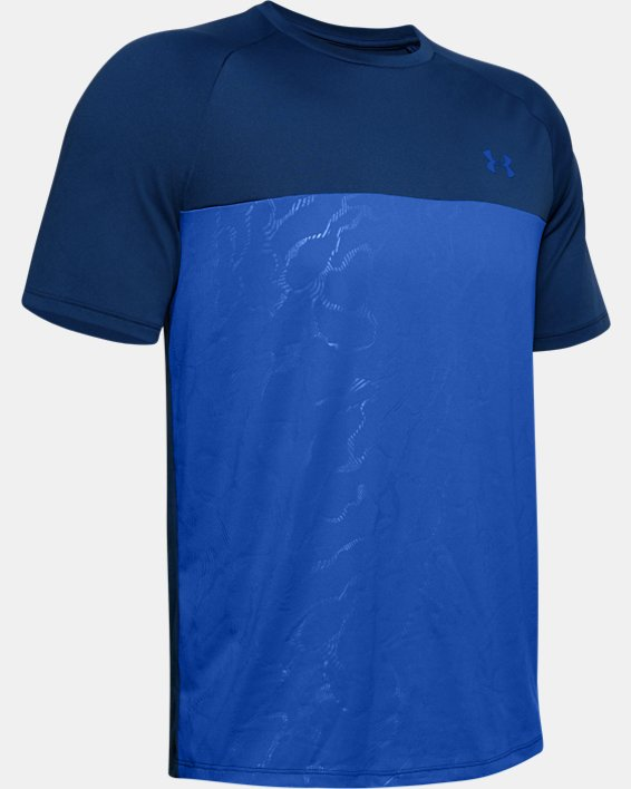 Men's UA Tech™ 2.0 Emboss Short Sleeve, Blue, pdpMainDesktop image number 3