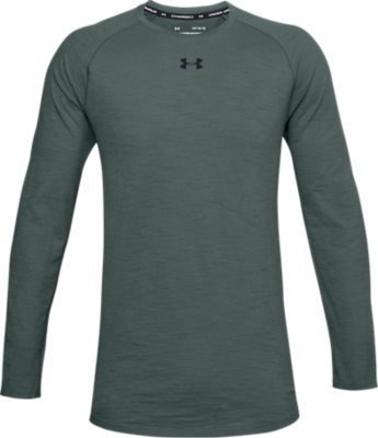 Grey Under Armour Charged Cotton Long Sleeve Mens Training Top