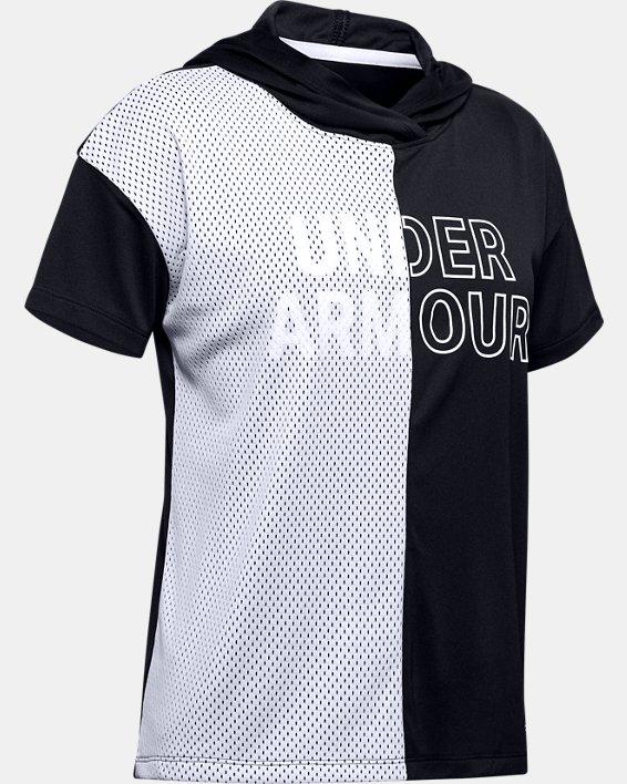 Girls' UA Tech™ Short Sleeve Hoodie, Black, pdpMainDesktop image number 0
