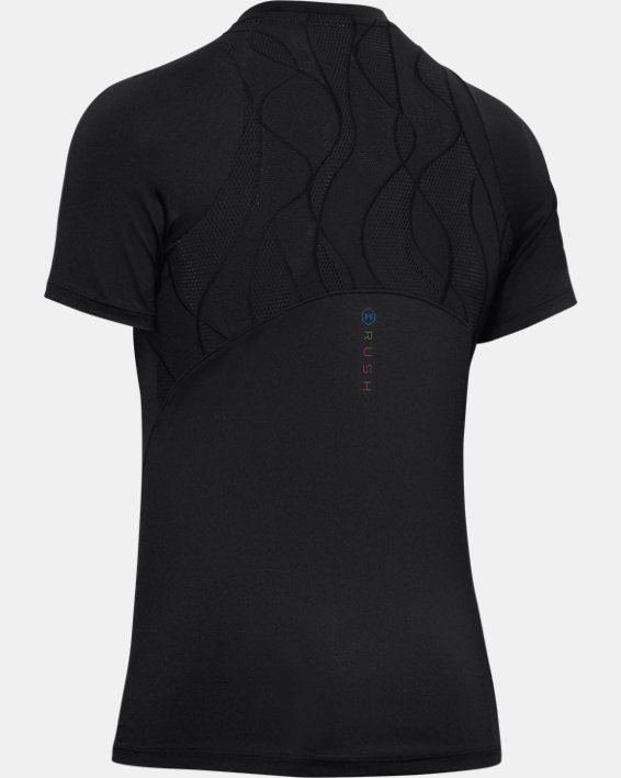 Women's UA RUSH™ Vent Short Sleeve, Black, pdpMainDesktop image number 4