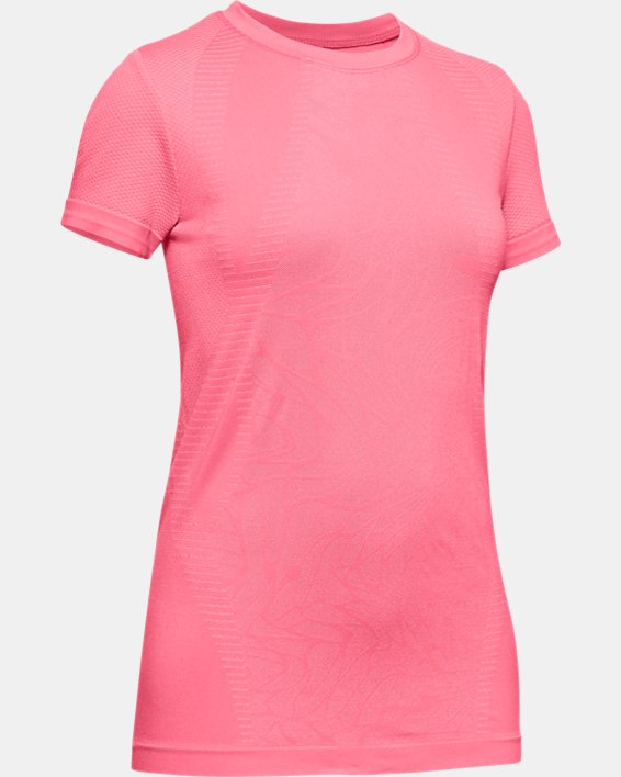 Girls' UA Seamless Short Sleeve, Pink, pdpMainDesktop image number 0