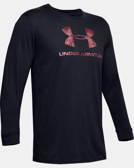 Men's UA Sportstyle Fill Logo Long Sleeve, Black, pdpMainDesktop image number 3