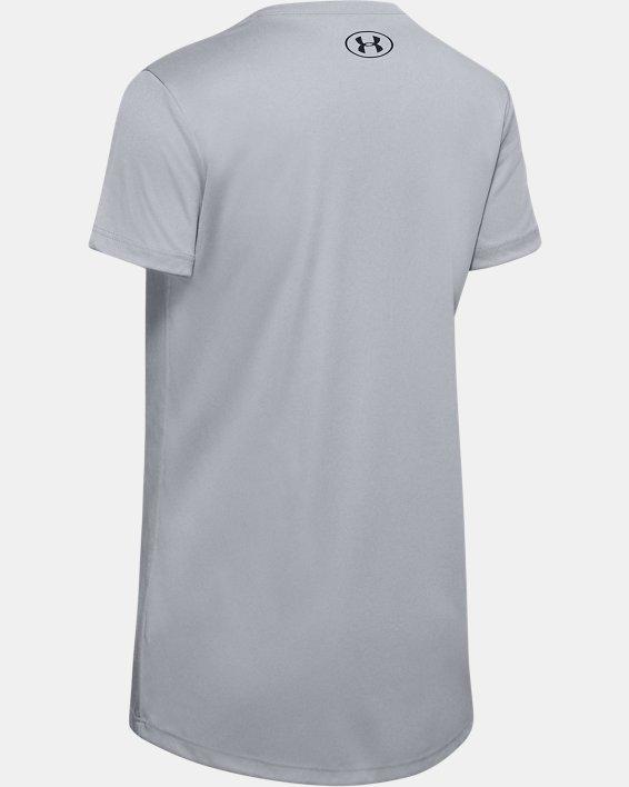 Girls' UA Tech™ Big Logo Short Sleeve, Gray, pdpMainDesktop image number 1