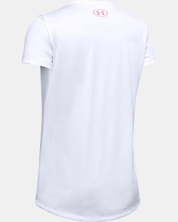 Girls' UA Tech™ Big Logo Short Sleeve, White, pdpMainDesktop image number 1