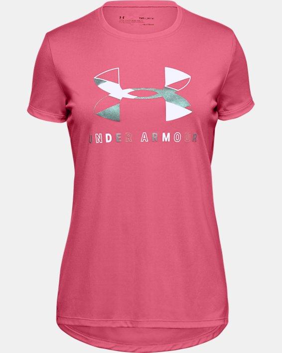 Mädchen UA Tech™ Kurzarm-Oberteil mit großem Logo, Pink, pdpMainDesktop image number 0