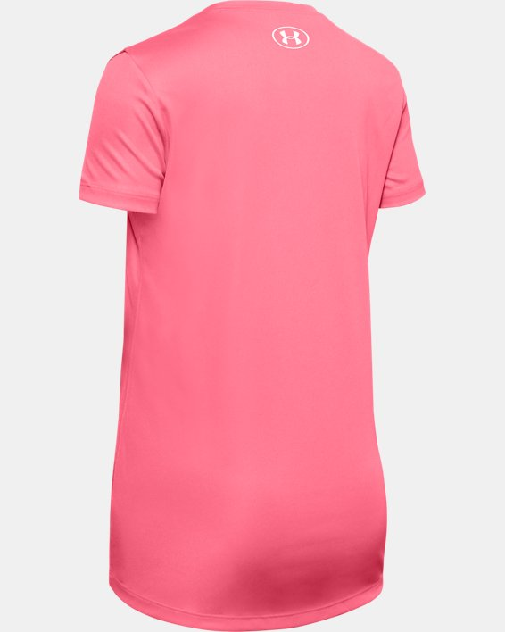 Girls' UA Tech™ Big Logo Short Sleeve, Pink, pdpMainDesktop image number 1