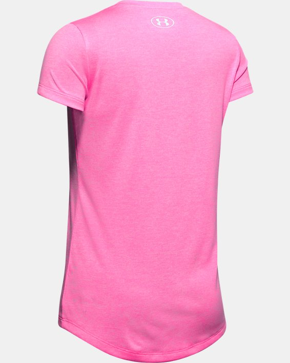 Girls' UA Big Logo Twist Short Sleeve, Pink, pdpMainDesktop image number 1