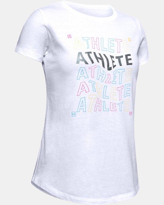 Girls' UA Athlete Graphic T-Shirt, White, pdpMainDesktop image number 4