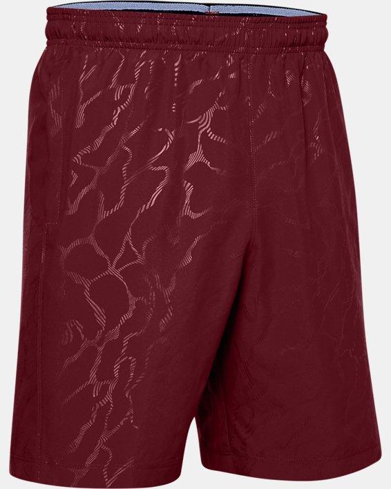Men's UA Woven Graphic Emboss Shorts, Red, pdpMainDesktop image number 4