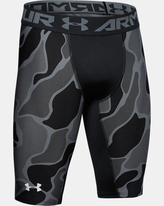 Men's HeatGear® Armour Extra Long Printed Shorts, Black, pdpMainDesktop image number 4