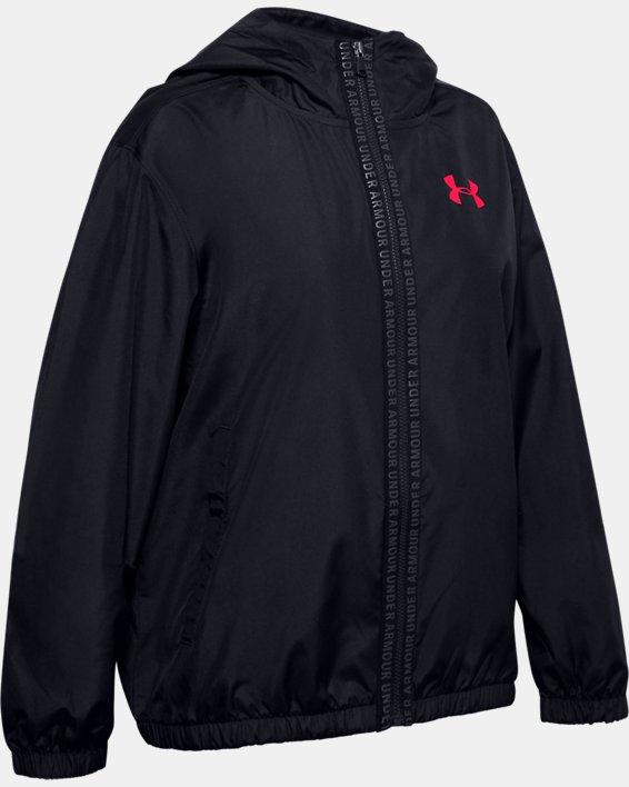 Girls' UA Woven Full Zip Jacket, Black, pdpMainDesktop image number 0