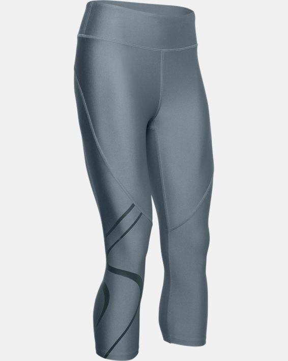 Women's HeatGear® Armour Graphic Capri, Green, pdpMainDesktop image number 3