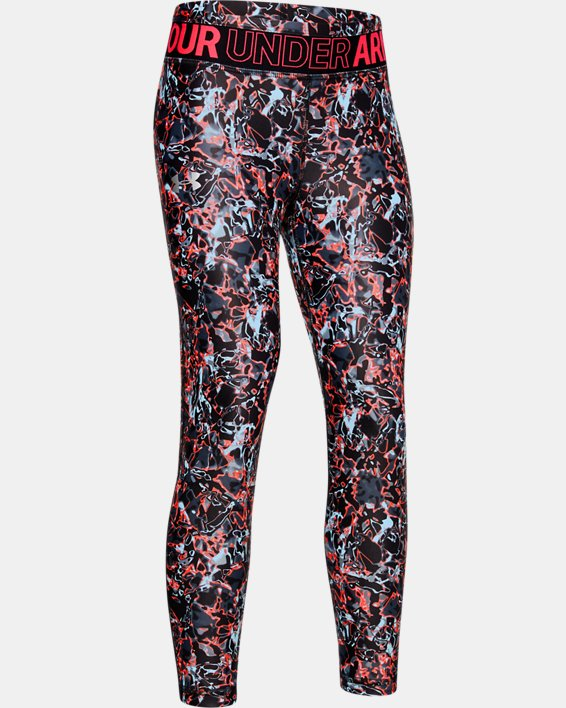 Girls' HeatGear® Armour Printed Crop, Black, pdpMainDesktop image number 0