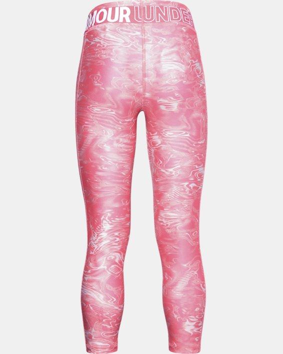 Girls' HeatGear® Armour Printed Crop, Pink, pdpMainDesktop image number 1