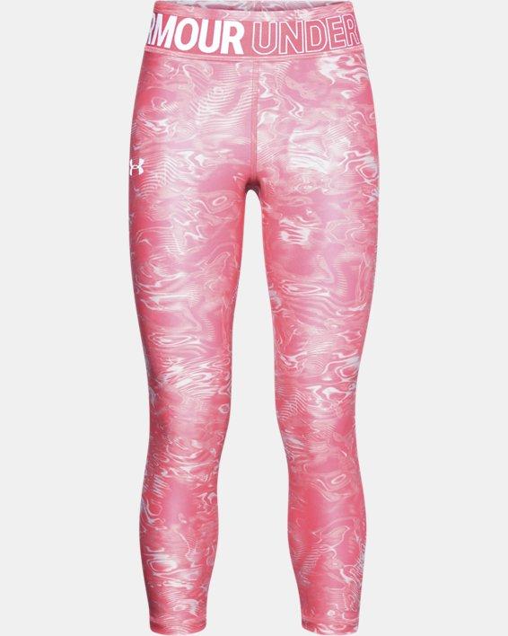 Girls' HeatGear® Armour Printed Crop, Pink, pdpMainDesktop image number 0