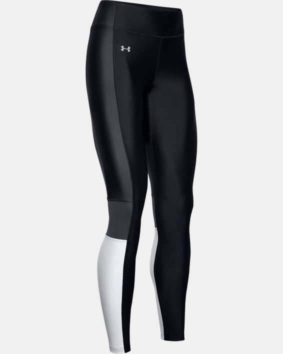 Women's HeatGear® Armour Perf Inset Graphic Leggings, Black, pdpMainDesktop image number 4
