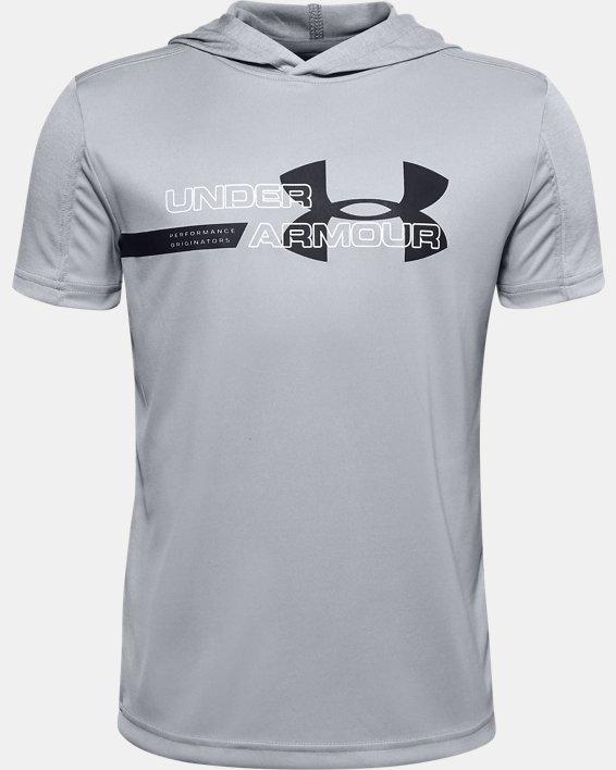 Boys' UA Tech™ Short Sleeve Hoodie, Gray, pdpMainDesktop image number 0