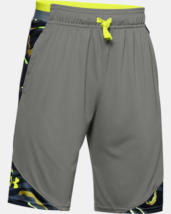 Boys' UA Stunt 2.0 Printed Shorts, Green, pdpMainDesktop image number 0