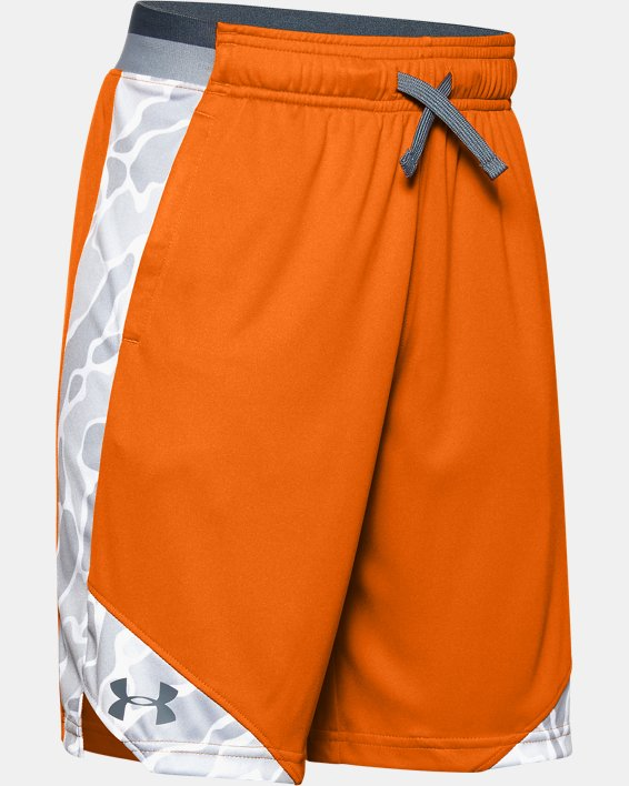 Boys' UA Stunt 2.0 Printed Shorts, Orange, pdpMainDesktop image number 0