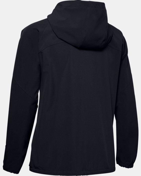 Women's UA Woven Branded Full Zip Hoodie, Black, pdpMainDesktop image number 5
