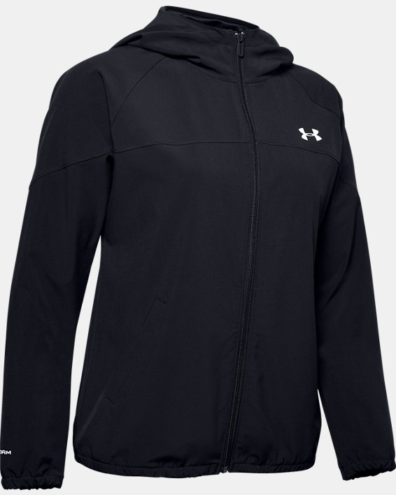 Sweat à capuche UA Woven Branded Full Zip pour femme, Black, pdpMainDesktop image number 4