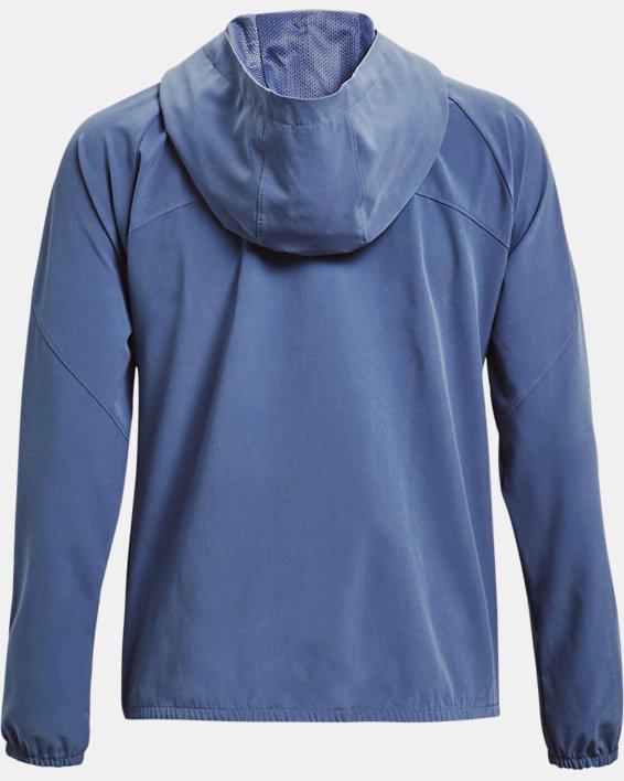 Women's UA Woven Branded Full Zip Hoodie, Blue, pdpMainDesktop image number 4