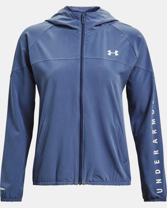 Women's UA Woven Branded Full Zip Hoodie, Blue, pdpMainDesktop image number 3