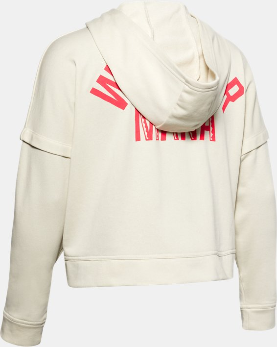 Women's Project Rock Terry Hoodie, White, pdpMainDesktop image number 5