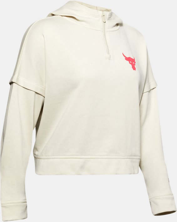 Women's Project Rock Terry Hoodie, White, pdpMainDesktop image number 4